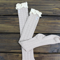 Lace Boot Socks, Socks for Boots, Womens Boot Socks, Womens Legwarmers, Button Boot Socks, Fall Socks, Boot Toppers with Lace, Beige Socks