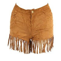 ASOS Fashion Finder | Tan Suedette Fringe Shorts