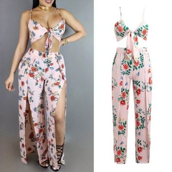 Summer Sexy Women Two Pieces Set Crop Top Pants Floral Print Sleeveless High Split Elastic Waist Casual Top Trousers Pink