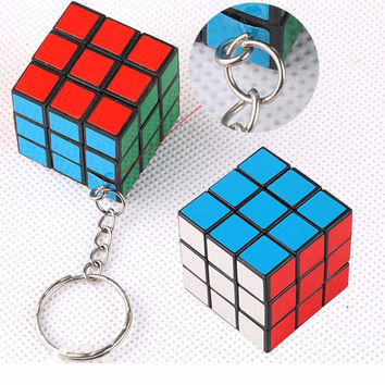 2pcs 3*3*3CM ABS Mini Puzzle Keyring Speed Toy Mini Magic Rubik Cube Puzzle Keychain for Men Women Fancy gift MN155