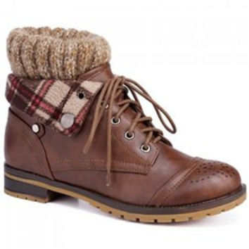 Retro Engraving and Lace-Up Design Women's Sweater Boots