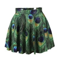 Peacock Feather Print Flared Skirt