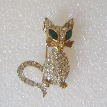 Sphinx of England Gold Plated Cat Brooch Pin with rhinestones Signed Sphinx