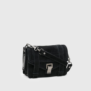 Proenza Schouler PS1 Mini Crossbody in Black Suede