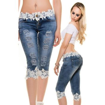 Women's Skinny Lace Crochet Hollow Out Denim Jeans Pants Slim Trousers KP