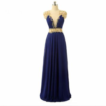 Royal Blue Sheer Back Cap Sleeve Beaded Evening Dresses Women