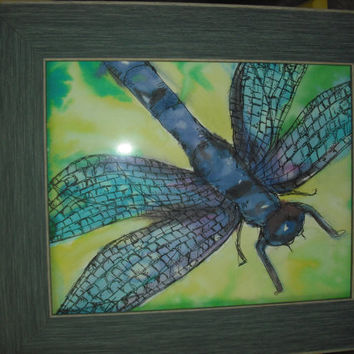 """Original 8""""x10"""" Dragonfly Watercolor painting in a frame"""