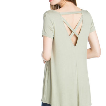 Laced Up Back Swing Tunic Top