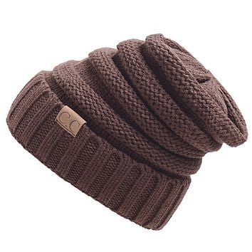 CC men and women trendy labeling knitted hat cap hat warm hat Coffee