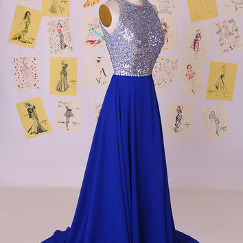 New Arrival 2015 Royal Blue Sequin Top Open Back  Chiffon Prom Dress/Sexy Long Party Dress/Evening Dress/Flowy Prom Dress DAF0047