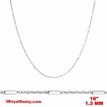 14k White Gold / 925 Sterling Silver Bar & Cable Italy Necklace Chain -1.3mm 16""