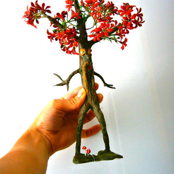 fairy Garden TREE Ent, wire clay tree sculpture Fantasy Clay Creature, Miniature Tree,FAIRY, gift ideas christmas gift