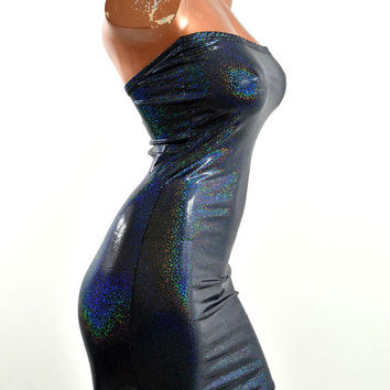 Black Metallic Holographic Hologram Strapless Sexy Bodycon Mini Dress -E7540