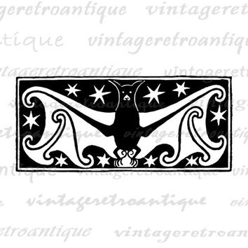 Printable Digital Vintage Bat Graphic Halloween Image Download Antique Clip Art Jpg Png Eps  HQ 300dpi No.3855