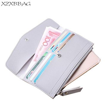 XZXBBAG Fashion PU Leather Women Long Wallet 2017 New Design Female With Multiple Card Holder Envelope Purse Girl Money Bag