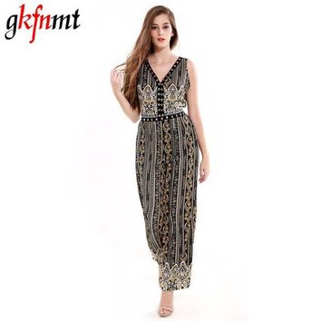 LMFIJ6 Women Jumpsuit Romper Fitness Slim Loose Romper Sexy V-Neck Print Bohemian Be Stretchy Big Size Rompers Backless Hollow Out