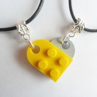 Yellow and grey heart his and her necklace set