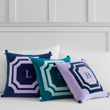Velvet Frame Monogram Pillow Covers