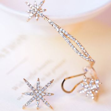 2018 Shiny Snow Stars Asymmetrical Earrings Ear Clips Ear Hanging Earrings