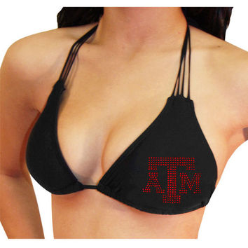 Miss Fanatic Texas A&M Aggies Women's Multi-String Bikini Top - Black