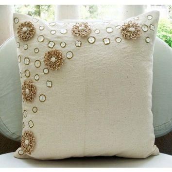 Jute Flowers - Throw Pillow Covers - 16x16 Inches Jute Cotton Pillow Cover with Mother of Pearl