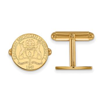 NCAA 14k Gold Plated Silver Eastern Michigan Univ. Crest Cuff Links