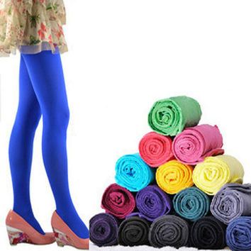1 Pair 5 Solid Colors Women Lady Sexy Footed Thick Opaque Pantyhose Slim Stretch Pants120 Denier Long Tights Soft