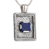 Rectangle pendant necklace: oxidized sterling silver with blue lapis lazuli