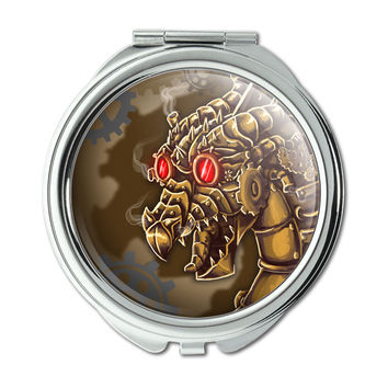Steampunk Dragon Compact Purse Mirror