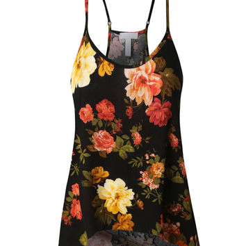 LE3NO Womens Flowy Floral Tank Top with Adjustable Straps (CLEARANCE)