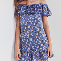Kimchi Blue Floral Ruffle Off-The-Shoulder Dress | Urban Outfitters