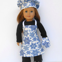18 Inch Doll Hanukkah Chef's Set, Blue and White Star of David Apron, Chef's Hat, Oven Mitt, Chanukah Chef's Set, fits American Girl Dolls