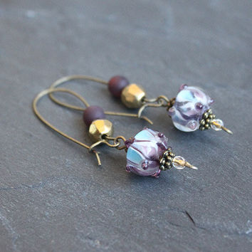 Exotic Boho earrings // beaded dangle earrings in bronze, purple, gold - boho jewelry - handmade earrings - lampwork