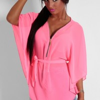 Lalique Pink Semi Sheer Batwing Zip Blouse | Pink Boutique