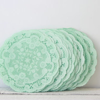 "Paper Doilies Mint Green 4""- French Lace Doilies - Mint Wedding Decoration, Vintage Wedding, Lace Doilies, Bridal Showers, Baby Shower"