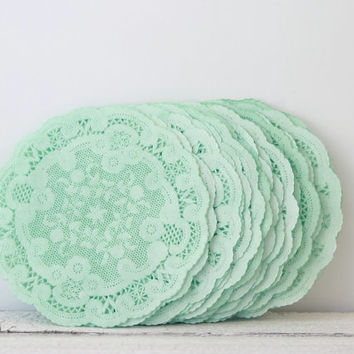 paper doilies mint green 4 french lace doilies mint wedding