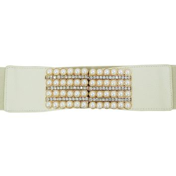Vintage Design Bridal pearl and rhinestone Buckle Elastic Wide Band Belt