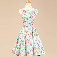 Vintage Floral Print Sleeveless A-line Dress