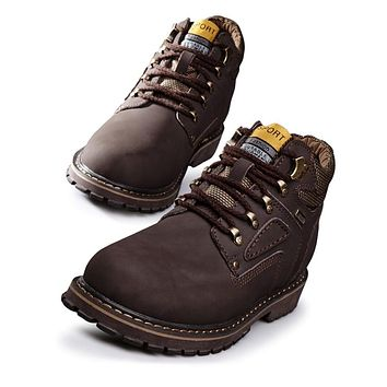 Oil-resistance Mens Work Boots Leather Safety Shoes Men Casual Winter Boots Fashion Waterproof Warm Ankle Boots With Fur