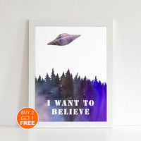 The X files poster UFO  Aliens I want to believe Fox Mulder Scully Flying saucer The truth is out there