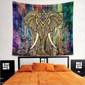 150*130cm/ 150*200cm  Indian Elephant Mandala Hippie Wall Hanging Tapestry Gypsy Bedspread Throw New Tapestry