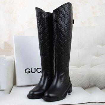 GUCCI New fashionable round head back zipper long boots more letter shoes Black