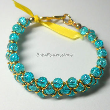 Beaded Goddess Bracelet, Aqua blue glass crackle beads Jewelry handmade blue and gold blue and gold jewelry gift Love, Sanibel FL