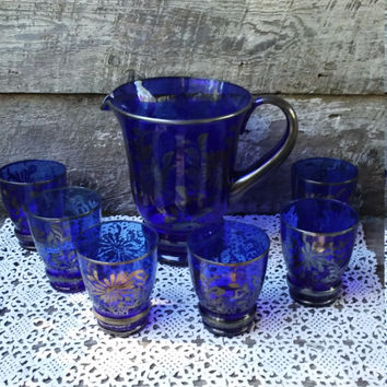 GLASS PITCHER with 6 glasses, Cobalt Blue and Silver Pitcher, Large Serving Pitcher, Overlay Silver, Holiday, Kitchen, Drinking Glasses