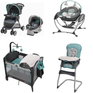 Graco Blue Baby Gear Bundle, Stroller Travel System, Play Yard, Swing, and High Chair