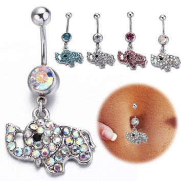 Summer Cute Bling Elephant Crystal Belly Button Rings