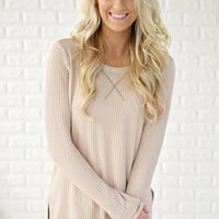 Beige Knit Thermal Top