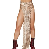 Semi Sheer Sequin Double Panel Rave Skirt