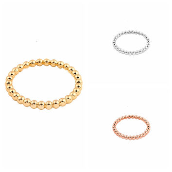 Jisensp 2017 Slim Stacking Ring Full Beaded Wire Simple Stack Skinny Ring Gold-color for Women Party Gift  R033