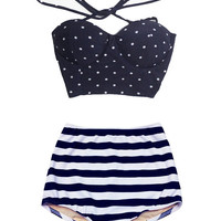 Navy Blue Polka dot Top and Navy Blue/White Stripe High Waisted High-Waist Highwaisted Swimsuit Swimwear Bikini Bathing Swim suit wear S M